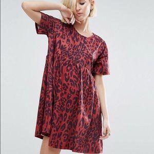 ASOS ultimate smock dress in leopard print